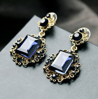 Wholesale Luxurious Vintage Rhinestone Square Gemstone Statement Stud Earrings Gift Wen