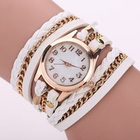 aw glass - Vine Women Dress Watches Gold Dial Leather Bracelet Watches Chain Wrap Quartz Watches AW SB