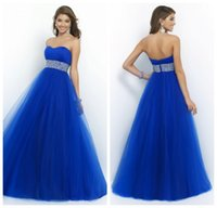 beautiful plus size prom dresses - Beautiful Girl Dress Strapless Ball Gown Tulle Puffy Royal Blue Prom Dress With Beaded Waistband Gown