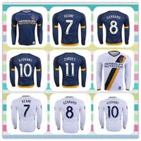 Thailand jersey soccer Baratos-Nuevo producto de Tailandia LA Galaxy de manga larga # 7 KEANE # 10 # 11 GIOVANI ZARDES 8 GERRARD ROGERS Beckham 2016 Jersey de fútbol azul de la camisa blanca