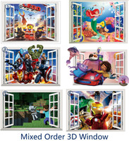 PVC art club design - 3D through Wall Window Wall Stickers Cartoon Decorative Wall Decals Art Poster Wallpaper Super Mario Mickey Mouse Club House Super heroes