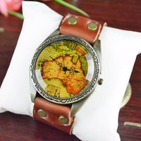 antique maps - 2014 New European Watches Leather Antique Map Watches Men and Women Fashion Watches