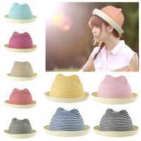 Cheap Cute Women Gril Straw Hat Stripes Cat Ears Straw Fedora Rolled Brim Domed Cap Sun Hats for Summer Headwear Chapeu de Praia