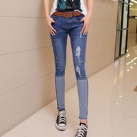 pair of jeans - New Women summer fashion casual jeans hole patch work stretch Nine points A pair of jeans women s clothing