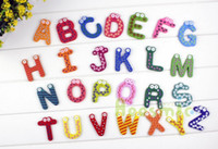Wholesale 2015 new Retail Fridge Magnet Child Colorful Letters shape Learning Wooden Magnetic Toddler Children s Educational Toys