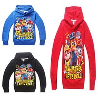 Wholesale Hot Let s Roll Kids Cartoon Hood Colors Dog Paw Long Sleeve Hoodied Tshirt Cotton Kids Spring Autumn Clothes