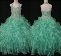 baby picture personalized - Cheap Mint Girls Pageant Dresses For Toddler Little Baby Girls Personalized Real Picture Glitz Crystals Ruffle Long Ball Prom Gowns