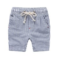 baby boy drawing - Summer boys beach shorts Korea cotton stripes plaid draw cord shorts PP pant for boy Children kids baby clothing