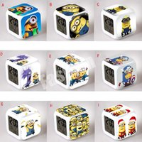 Wholesale Cartoon Minions Alarm Clock LED Colorful Night Light Glowing Changing Digital Clocks Thermometer Toys Gift Creeper The Avengers DHL FREE