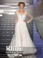 Wholesale 2015 Rhine Amazing Long Sleeves A Line Wedding Dresses Applique Square Neck Hollow Cathedral Train Tulle Weddiing Gowns Bridal Gowns