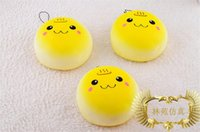 Wholesale 20pcs cm big Round yellow bread squishies phone charm squishy Cell Phone Straps cheapSmiling face wet soft bre
