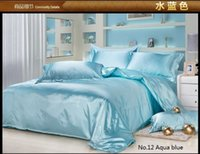 aqua bedding queen - Aqua blue silk bedding sets satin sheets California king queen full twin size duvet cover brand bed bedsheet quilt linen