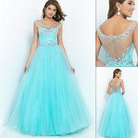 Cheap Aqua Prom Dresses Best Cap Sleeves Prom Dresses