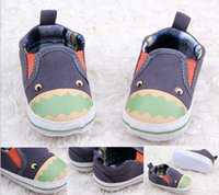 Wholesale Dinosaur style toddler shoes children canvas shoes gray baby shoes walker casual shoes soft infant single shoes in stock pairs ZH