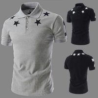 Wholesale Tops T shirts casual men t shirt summer new slim fit men s fashion five pointed star printed short sleeved shirt POLO
