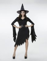 gothic clothing - 2016 New Irregular Black Adult Witch Dress Sexy V neck Cosplay Halloween Costumes Club Stage Performance Clothing Hot Selling