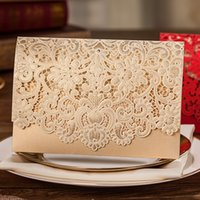 Wholesale 2015 New Wedding Invitation Custom colors Lace Hollow Flowers Wedding Invitations Free Printing Wedding Cards