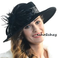 hats elegant - Elegant Design Wool Feather Hats Steeo Flower Decoration Wide Brim Hats Best Dress Hats for Women M