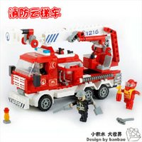 Cheap Banbao 8313 Fire Fighting Ladder Truck 290 pcs Plastic Building Block Sets Educational DIY Bricks Toys Christmas gift