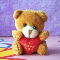 Cheap 40pc 5.5cm Plush Mini Teddy Bear Care Bear I Love You Pendants Toys Bouquet Chaveiro mini urso de Pelucia Soft Amigurumi Doll