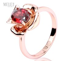 Wholesale Mozambique natural red garnet ring silver rose gold plated ring fashion models female flowers fresh