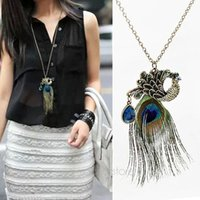 long feathers - Women s Fashion Vintage Pendant Necklaces Peacock Feather Crystal Pendant Chain Necklace Long Sweater Chain Chic Jewelry MHM264