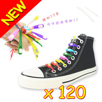 Wholesale New Of Elastic Easy Tie Silicone Rubber Elastic Shoelace Round Button Sneaker Shoe Laces Running Shoelace Athletic Shoe laces