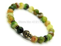 banded agate beads - 2015 New Design Stone Jewelry mm Natural Green Banded Agate Beads Antique Bronze Buddha Bracelets