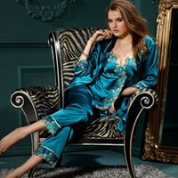 pajama - women new sexy satin lace pajama sets sleep lounge pijama for women pyjamas pajamas set women sleepwear nightgown pijamas XXXL