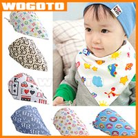 Wholesale TOP Quality Baby Bib Saliva Towels Infant Cartoon Triangle Towel Triangular Bandage Kids Pure Cotton Burp Cloths DHL fast Delivery