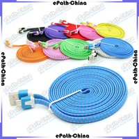 Wholesale 1M M M USB Fabric Braided Data Sync Wire Charging Cable Fiber Flat Knit Woven Charger Cord For Smartphone Mobile Phone
