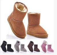 al por mayor botas de navidad-ENVÍO libre REGALO DE NAVIDAD nuevo clásico chico de invierno botas para la nieve botas cortas muchacha niño niños botas botas de invierno de piel de vaca arrancar tamaño de la UE:. @ 25-34 22