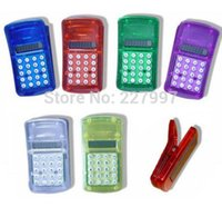 Wholesale DHL Freeshipping FLCD Screen Display Mini Portable Pocket Clip Calculator for Student