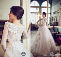 Wholesale 2014 New Ball Gown Wedding Dresses bateau Long Sleeves Appliques Beaded Floor Length Tulle Bridal gowns