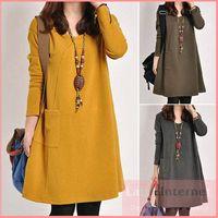 Atacado-Roupa Nova Vestido Longo-luva casuais para Gestantes Cotton Roupas Femininas Plus Size cintura 120cm vestidos de maternidade de Inverno
