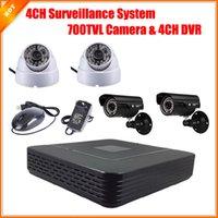 Cámara de vídeo mini caja de circuito cerrado de televisión Baratos-CCTV 4CH D1 P2P HDMI H. Kit de cámara 264 del sistema de vigilancia de vídeo DVR Mini Sistema de seguridad HD CMOS 700TVL IR