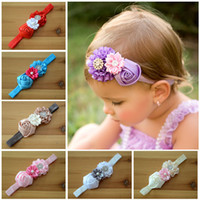 baby products - New Products baby Hair Accessories Europe and America style flowers toddler hair band Rose butyl diamond newborn headdress flower ab1060