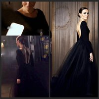 gothic wear - Gothic Evening Dress With Long Sleeves Bateau Neck Backless A Line Tulle net Skirt Custom Made Black Prom Gowns