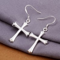 Wholesale Brand new sterling silver Cross earrings DFMSE305 women s silver Dangle Chandelier earrings factory direct