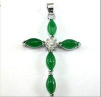 jade - Whosale Exquisite Malay jade pendant green jade Christianity Cross pendant ladies and girls and children best love with necklace