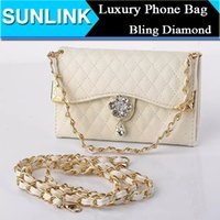 phone case purse - Diamond Wallet Purse Phone Case for Samsung Galaxy S6 Edge Note Sony Z4 Leather Case Luxury Handbag Long Chain Bling Bling Style