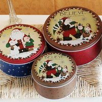 Wholesale AIBEI Zakka Christmas Style Santa Claus and children Tin Box SET Round biscuits Storage Case Candy Box Accessories