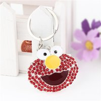 Cheap 20154 Fashion Keychain Elmo Sesame Street Key Chains Key Holder Rings with Rhinestone Pendant Decoration Free Shipping