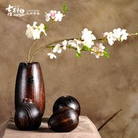 article form - JIXIAGJIA New Chinese style wood vases furnishing articles suit circle water droplets form hip shape flower