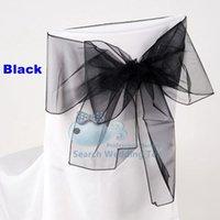 al por mayor organza marco de la silla cubierta de color negro-Envío libre Color Negro Silla Organza \ Presidente del arco Para Silla boda de la cubierta cubierta de la silla del Spandex