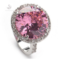With Side Stones class ring - Trendy R147 sz Pink Cubic Zirconia fashion First class products Silver Plated cute RING