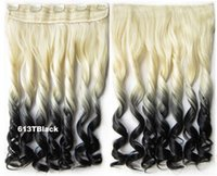 Wholesale two tone hairpieces dip dye clips in synthetic blonde curly wig hair extension ombre hairpieces pc grams BlackT613 inches