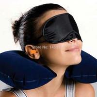 air cooled seat cushion - Neck Air Cushion Pillow eye mask Ear Plug Comfortable business trip Grey