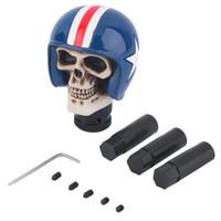 Wholesale New arrival Universal Gear Shift Knob Rider Helmet Human Skull Head lever Stick Gear Knob Blue Hot Selling
