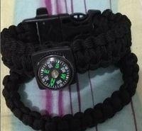 Wholesale 10 Lifesaving whistle Bracelet cord Survival parachute rope Steel flint with compass